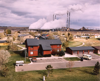 Colstrip Montana Company Houses, Power Plant and Coal Strip-Mine